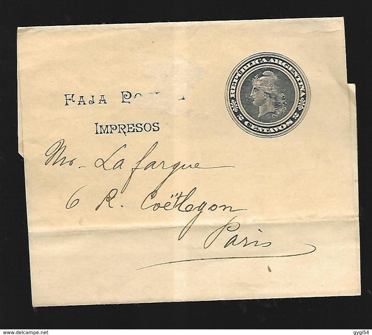 Argentine  Entier Postal Vers Paris - Enteros Postales
