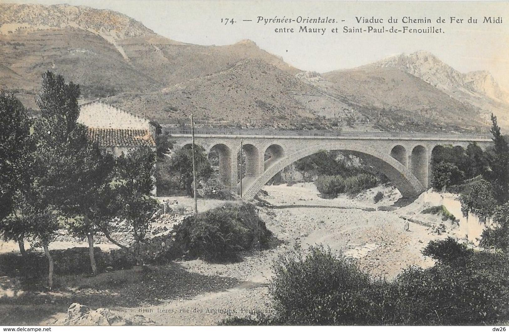 Pyérnées-Orientales, Viaduc Du Chemin De Fer Du Midi Entre Maury Et St Paul De Fenouillet - Carte Colorisée Non Circulée - Ouvrages D'Art