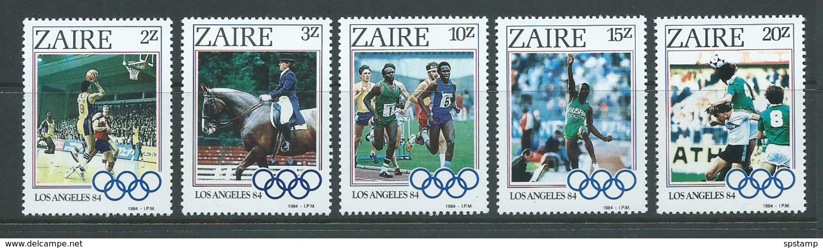 Zaire 1984 Los Angeles Olympic Games Set Of 5 MNH - Stamps