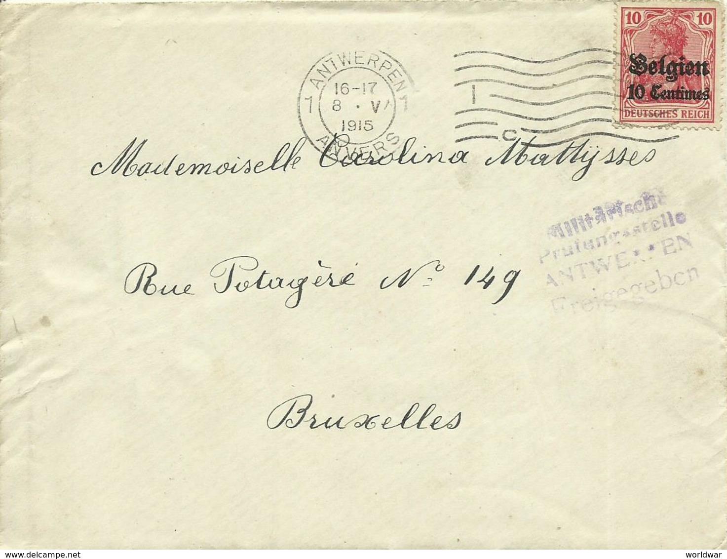 1915  Brief Van Antwerpen (met Inhoud In Nederlands) Naar Brussel Censuur Antwerpen - [OC1/25] Gen.reg.