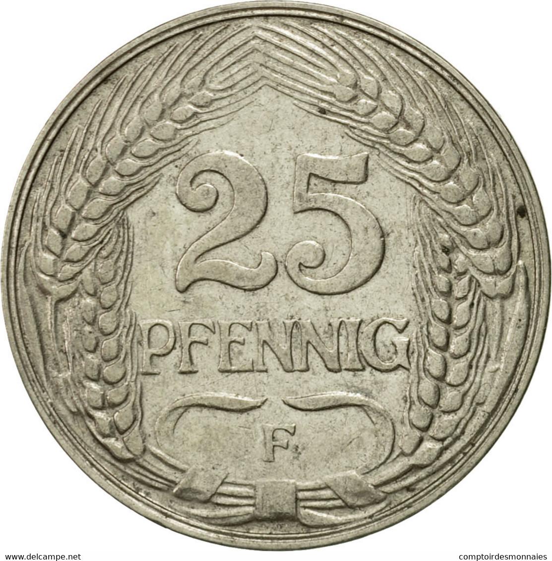 Monnaie, GERMANY - EMPIRE, Wilhelm II, 25 Pfennig, 1910, Stuttgart, TTB, Nickel - [ 2] 1871-1918 : Imperio Alemán