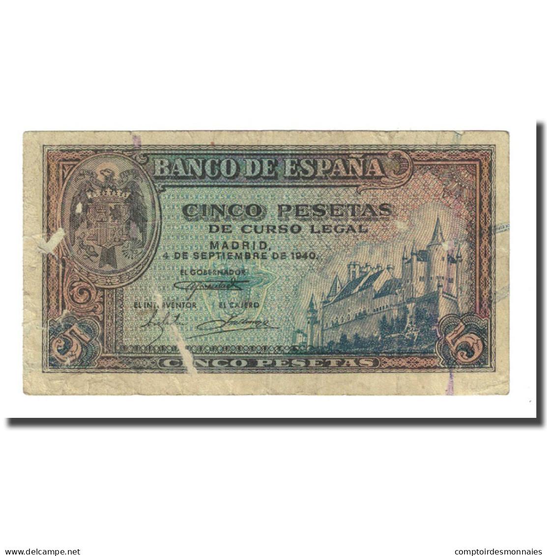 Billet, Espagne, 5 Pesetas, 1940-09-04, KM:123a, TB - [ 3] 1936-1975 : Régence De Franco
