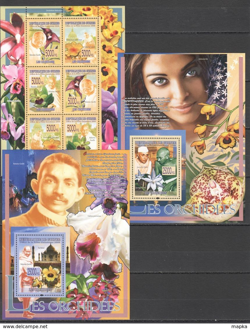 T338 2008 REPUBLIQUE DE GUINEE PLANTS FLOWERS ORCHIDS FAMOUS PEOPLE 2BL+1KB MNH - Orchidées