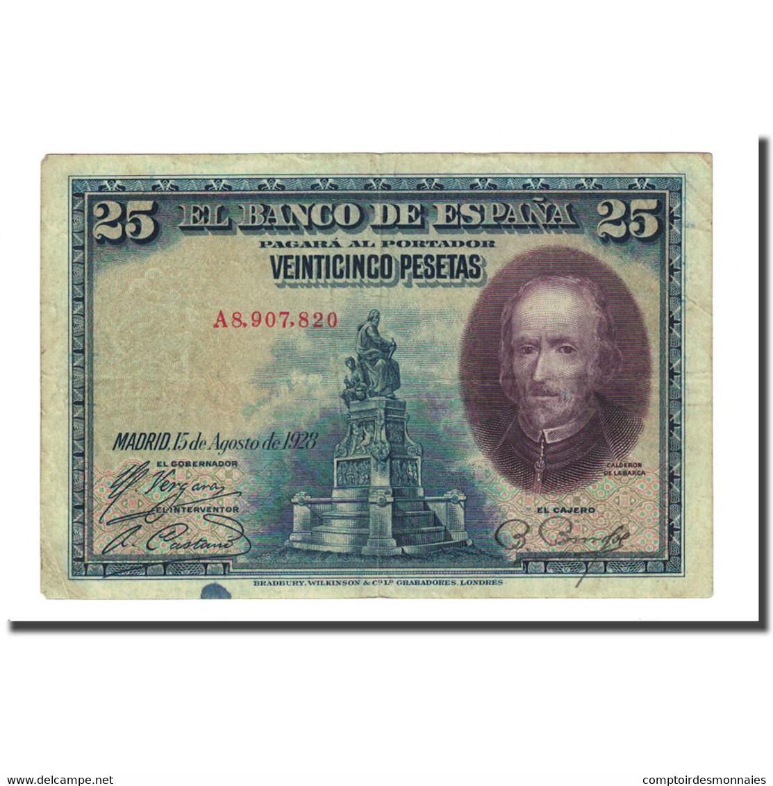 Billet, Espagne, 25 Pesetas, 1928-08-15, KM:74b, TB - [ 1] …-1931 : Eerste Biljeten (Banco De España)