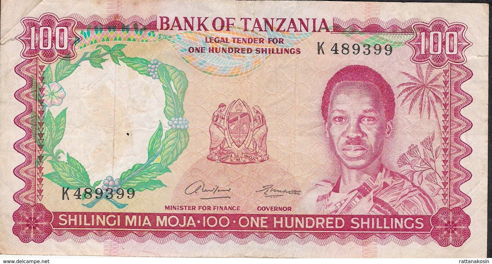 TANZANIA  ** R A R E  ** P5a 100 SHILLINGS 1966 F-aVF  NO P.h. ! - Tanzanie
