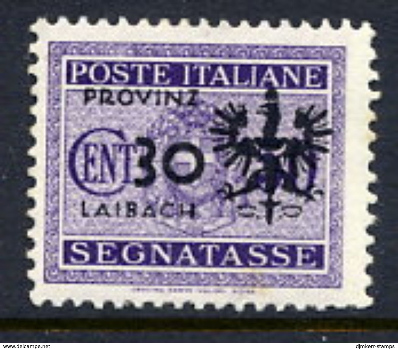 LJUBLJANA PROVINCE 1944 Postage Due 30 C. MNH / **.  Michel Porto 5 - Occupation 1938-45