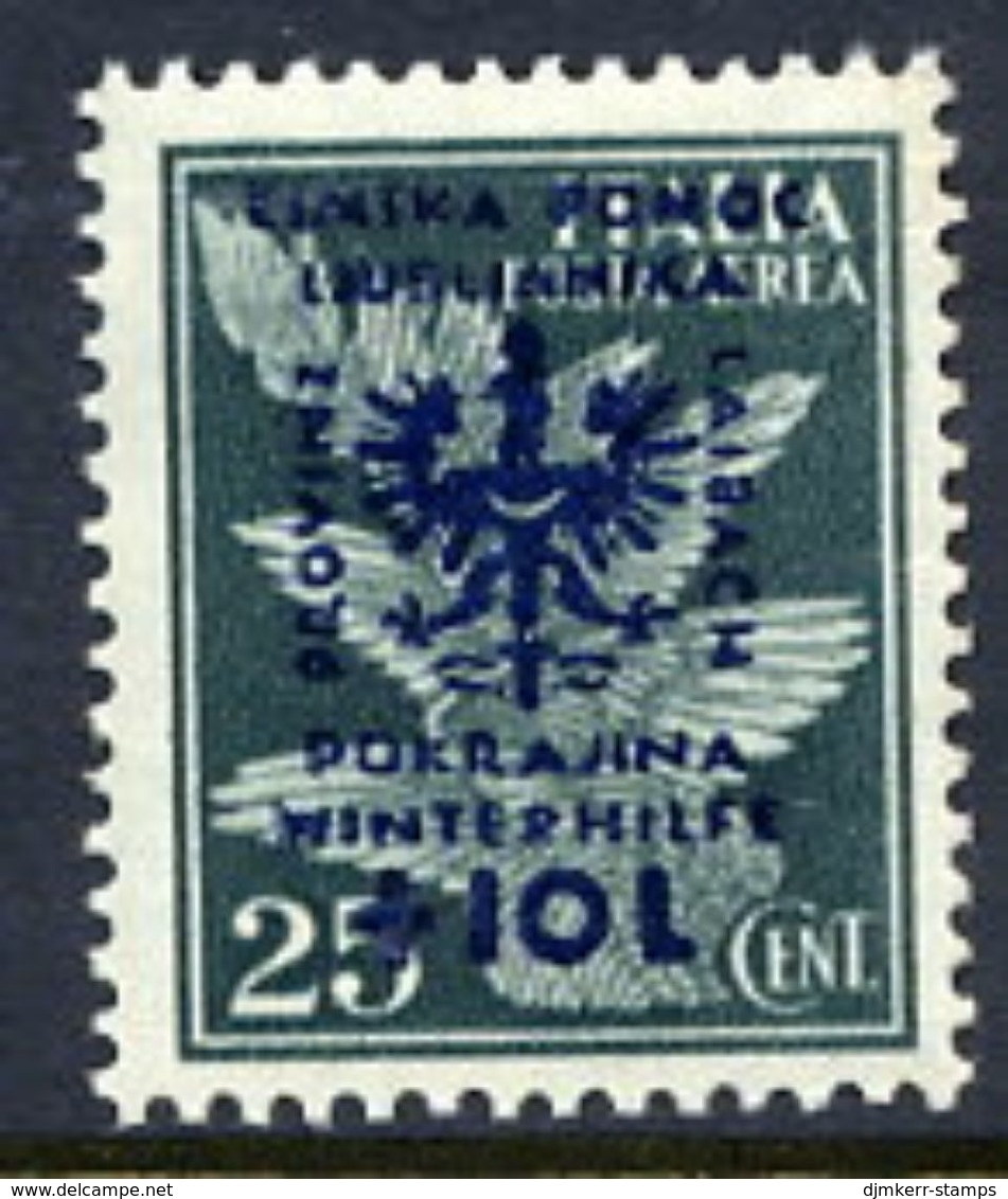 LJUBLJANA PROVINCE 1944 Winter Relief 25 C. + 10 L. MNH / **.  Michel 39 - Occupation 1938-45
