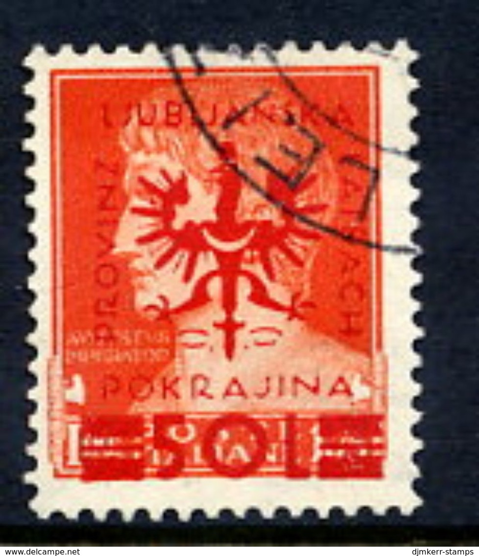LJUBLJANA PROVINCE 1944 Definitive 50 L. On 1.75 L. Used.  Michel 19 - Occupation 1938-45