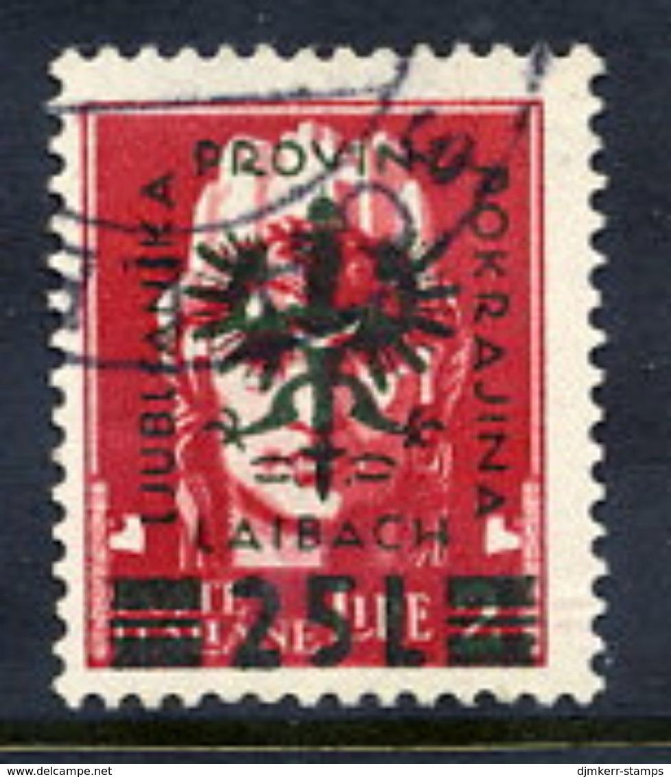 LJUBLJANA PROVINCE 1944 Definitive 25 L. On 2 L. Used.  Michel 18 - Occupation 1938-45