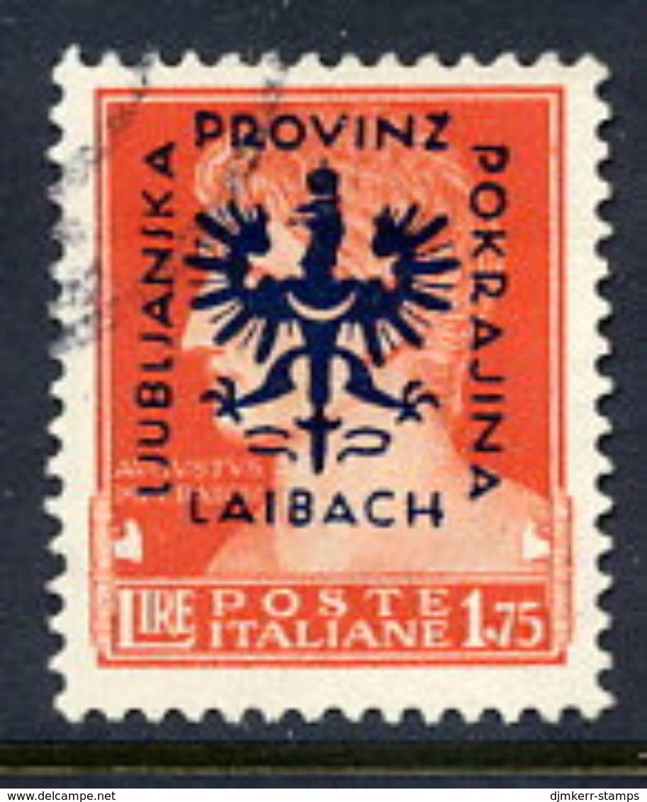 LJUBLJANA PROVINCE 1944 Definitive 1.75 L. Used.  Michel 12 - Occupation 1938-45