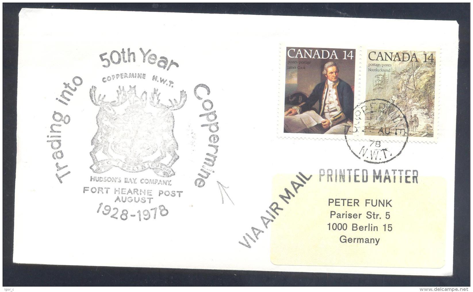 Canada 1978 Cover - Minerals Fosil Fossil Mine Mineralien Paleontolyogy Speleology; Coppermine  Fox Deer - Mineralien