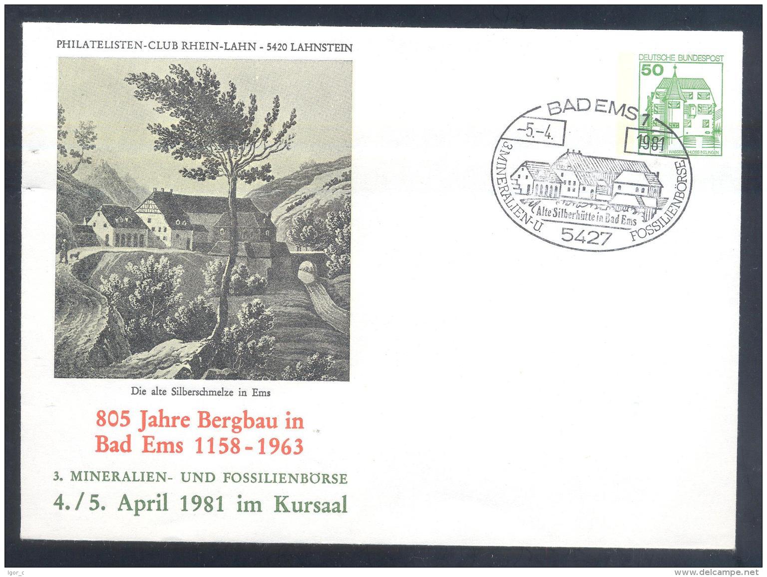Germany 1981 Postal Stationery Cover: Minerals Fosil Fossil Mine Mineralien Paleontolyogy Speleology: Bergbau Bad Ems - Mineralien
