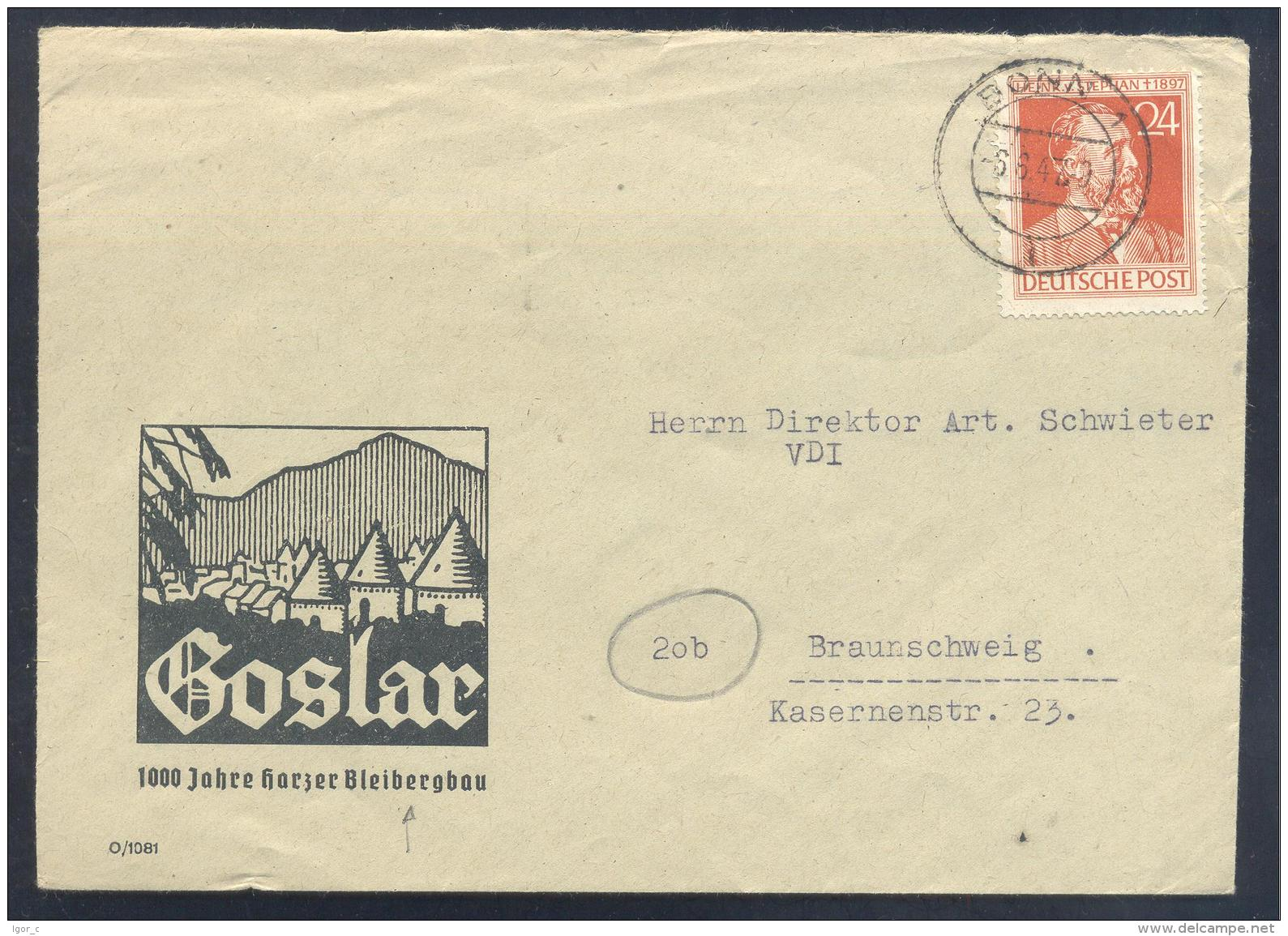 Germany 1947 Cover; Minerals Fosil Fossil Mine Mineralien Paleontolyogy 1000 Jahre Bleibergbau; Heinrich V. Stephan - Mineralien