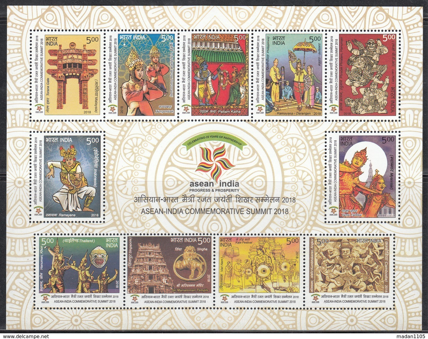 INDIA 2018 MS ASEAN  Association South East Asian Nations Summit,Complete Set Of 11v In MS, Religion, MNH(**) - India
