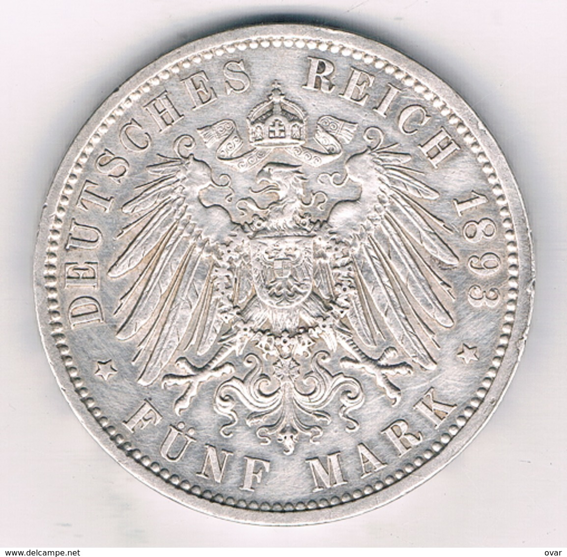 5 MARK 1893 A DUITSLAND /4443G/ - 2, 3 & 5 Mark Silver