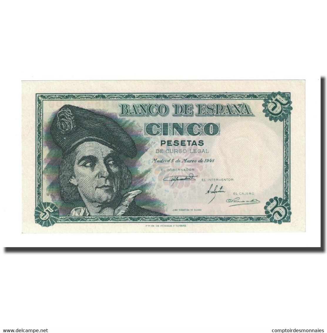Billet, Espagne, 5 Pesetas, 1948-03-05, KM:136a, NEUF - [ 3] 1936-1975 : Régence De Franco