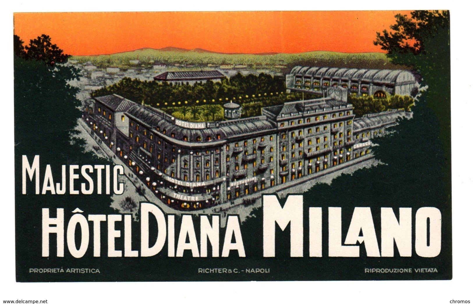 "Etiquette Label Hotel ""Majestic Diana"" Milano, Italie - Etiquettes D'hotels"