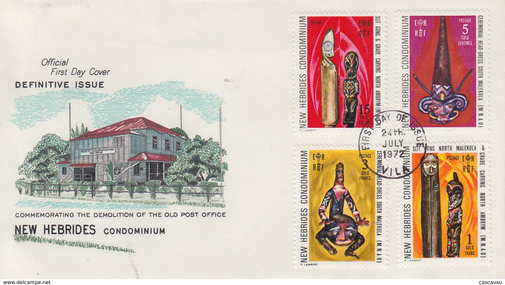 Enveloppe  FDC  1er Jour   NOUVELLES  HEBRIDES   Art  Indigéne   1972 - FDC