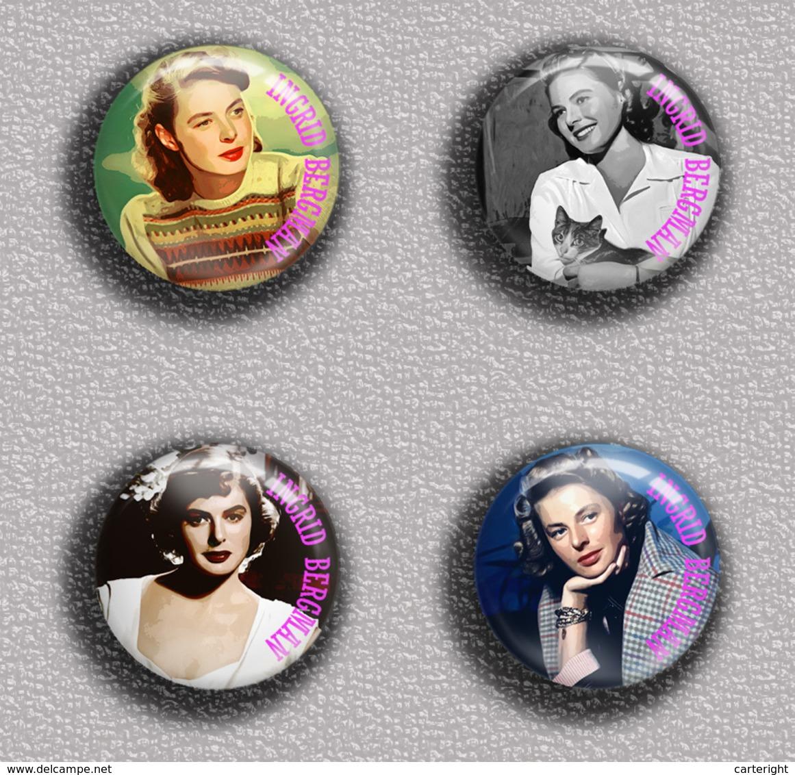 Ingrid Bergman Movie Film Fan ART BADGE BUTTON PIN SET 1  (1inch/25mm Diameter) 35 DIFF - Kino