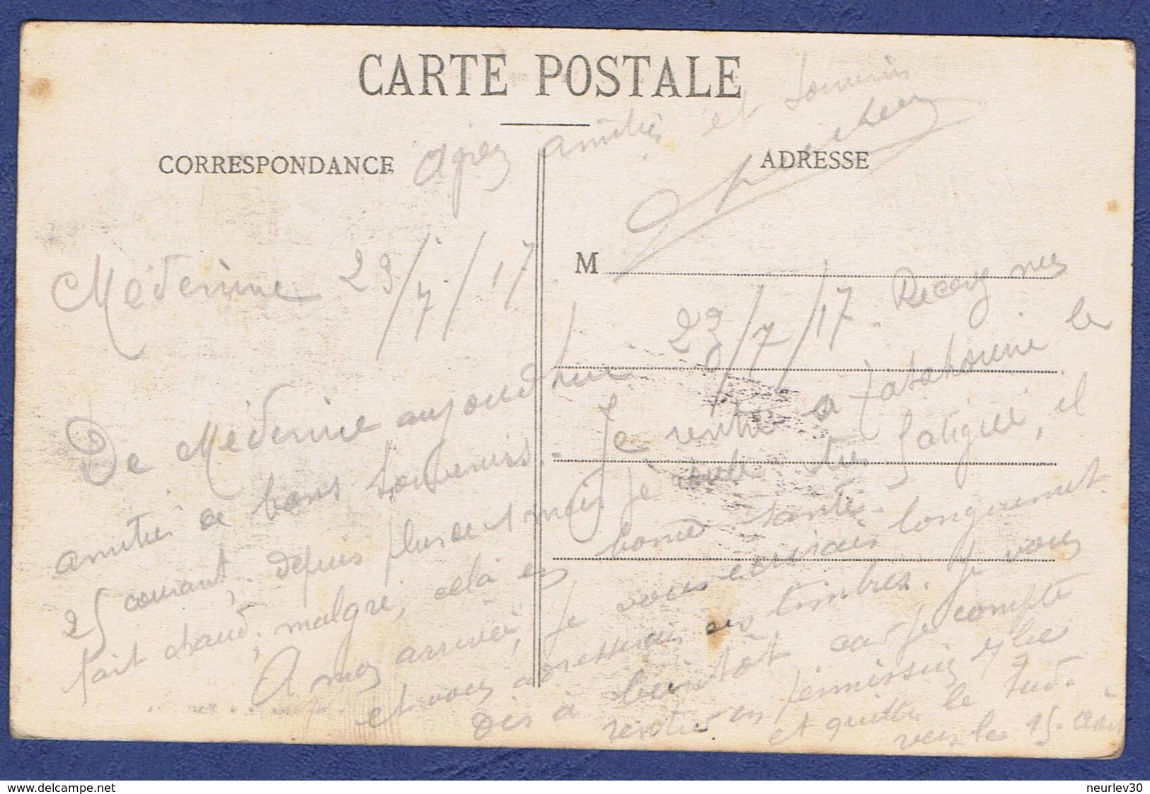 """CPA TUNISIE - MEDENINE - CAMP MILITAIRE - CACHET """"ROYAUME DU CAFARD 1917 - KSAR MEDENINE"""" - Tunisie"""