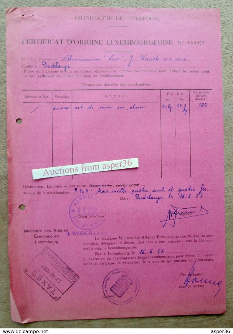 "2 Documents ""Fabrique D'Articles En Aluminium, J. Weirich, Dudelange 1957"" - Luxemburgo"