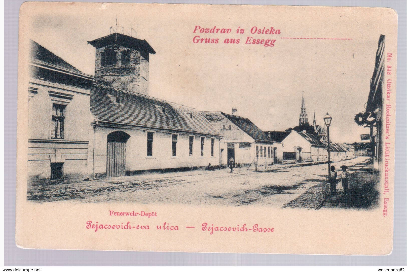 CROATIA Osijek Pozdrav Iz Osieka Gruss Aus Essegg Feuerwehr- Depot Ca 1900 OLD POSTCARD 2 Scans - Croatia