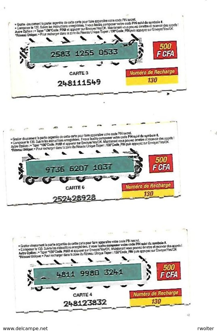 "@+ Niger - 3 Cartes Prépayée Celtel -  500 FCFA - Verso ""cartes 3 - 4 Et 6"" - Niger"