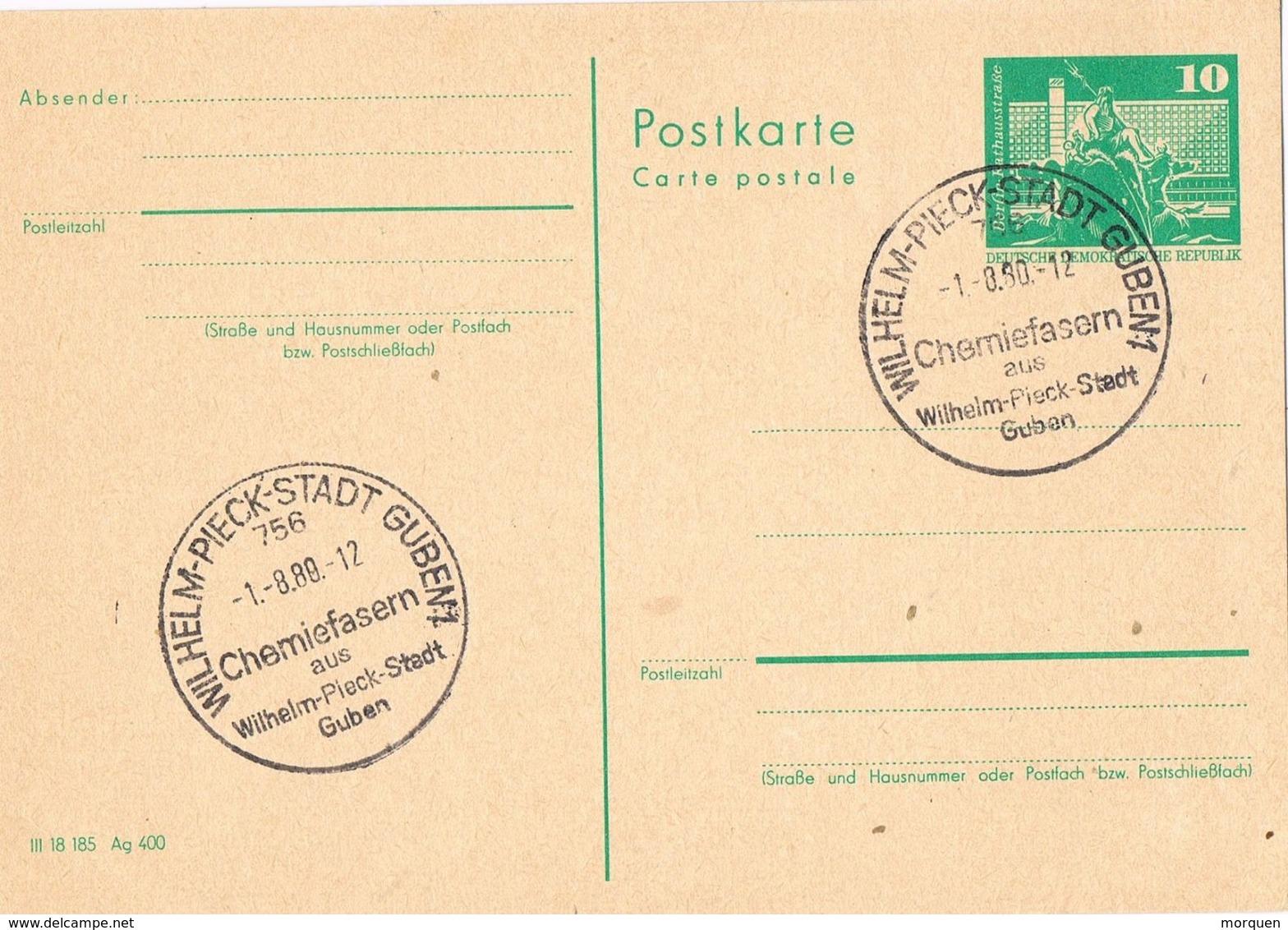 29550. Entero Postal WILHELM PIECK Stadt (Alemania DDR) 1980. Fibras Quimicas - Postales - Usados