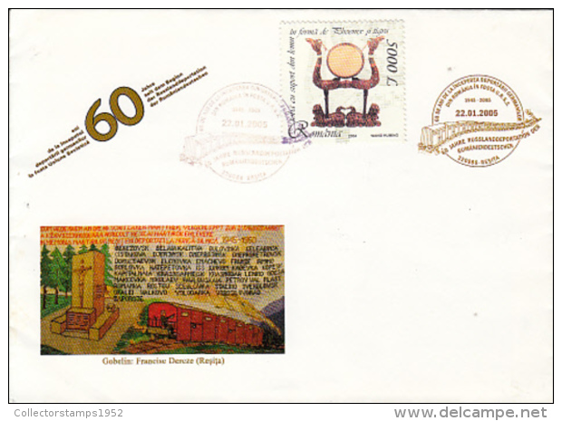 72578- ROMANIAN SAXONS DEPORTATION TO RUSSIA, TRAINS, SPECIAL COVER, 2005, ROMANIA - Lettres & Documents