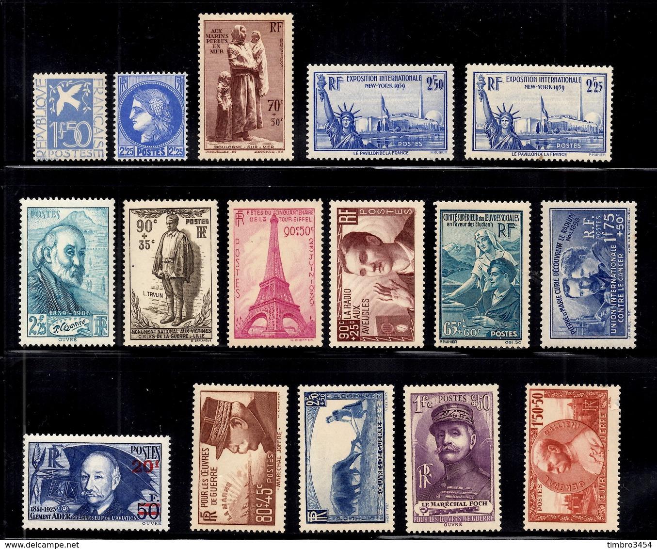 France Belle Petite Collection D'anciens Neufs ** MNH 1934/1940. Bonnes Valeurs. B/TB. A Saisir! - Collections