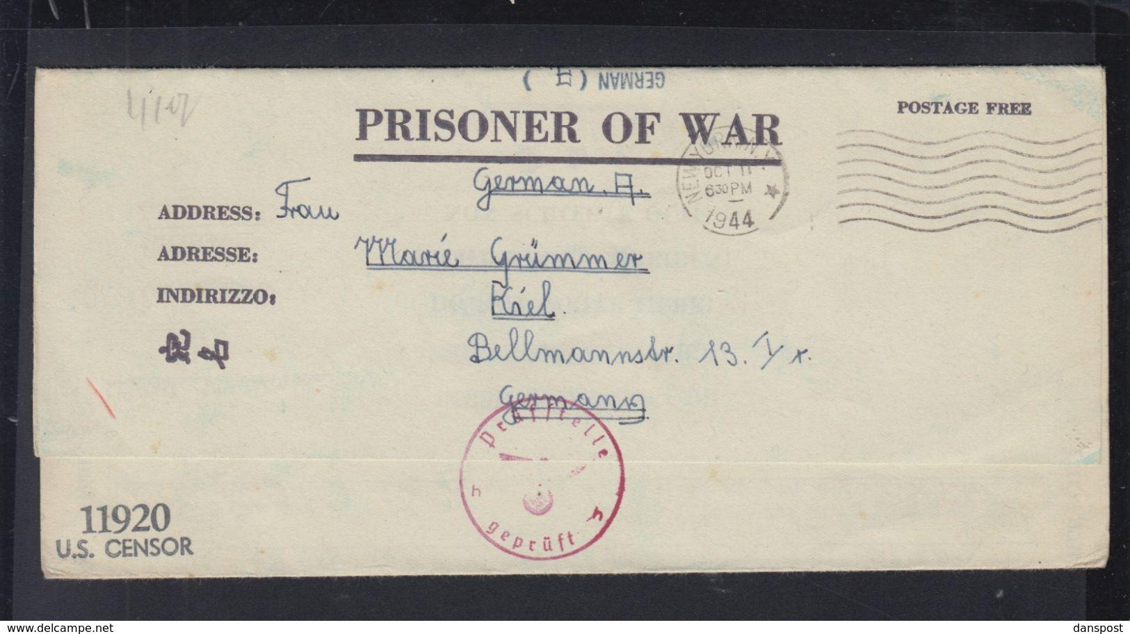 USA Kriegsgefangenensendung 1944 Fort Sam Huston Nach Kiel Poststelle H Geprüft - Storia Postale