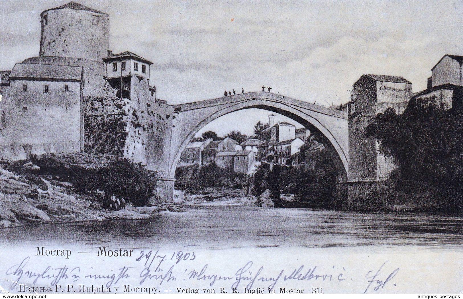 Carte Postale Sarájevo Mostar 1903 Zug Gravosa Ragusa Мостар Босна и Херцеговина Bosna I Hercegovina - Brieven En Documenten