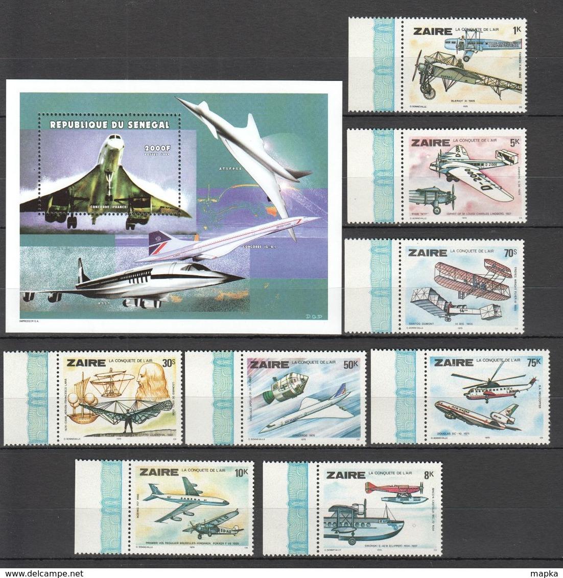 U146 1978,1999 SENEGAL ZAIRE TRANSPORT AVIATION 1SET+1BL MNH - Avions
