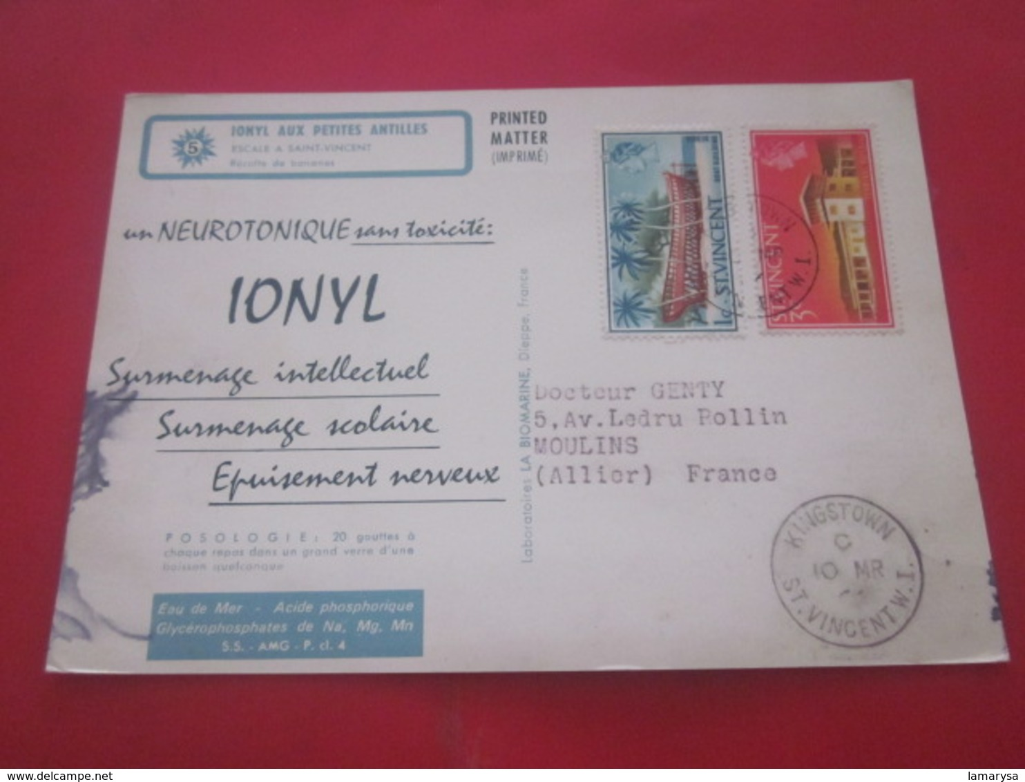 CARTE LETTRE IMPRIMÉ PÉRIPLE DU NOUVEAU MONDE SAINT-VINCENT-Adressé à Docteur Par Laboratoire MARINOL-PLASMARINE-IONYL - St.Vincent (1979-...)