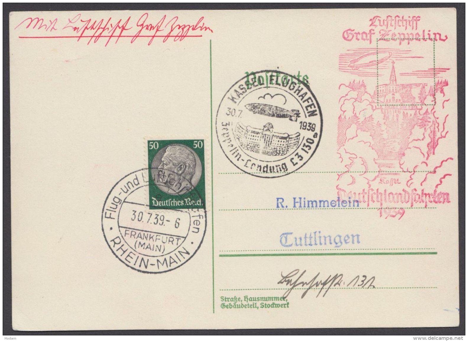 """Zeppelin, Mi-Nr. 525, """"Deutschlandfahrt 1939, Kassel"""" Mit Pass Sst """"Zeppelinlandung Kassel"""", 30.7.39 - Deutschland"""