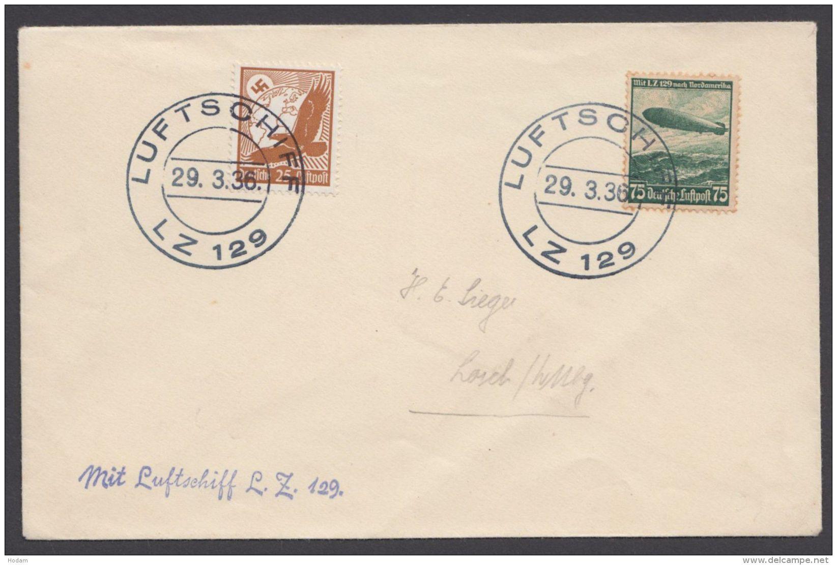 """Zeppelin, Mi-Nr. 533, 607, MiF Auf Brief, Stempel """"Luftschiff LZ129"""", 29.3.36 - Deutschland"""