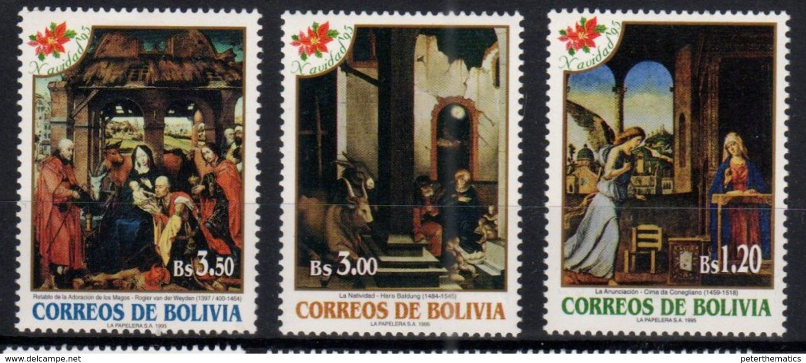BOLIVIA , 1995, MNH,CHRISTMAS, CELEBRATIONS, MICHEL 1290-1292, 3v - Navidad