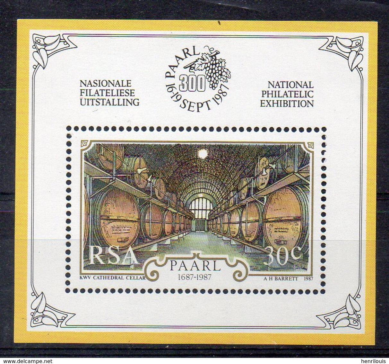 AFRIQUE DU SUD Timbre Neuf ** De 1987   (ref 5508 ) Vignoble - Vin - Blocs-feuillets