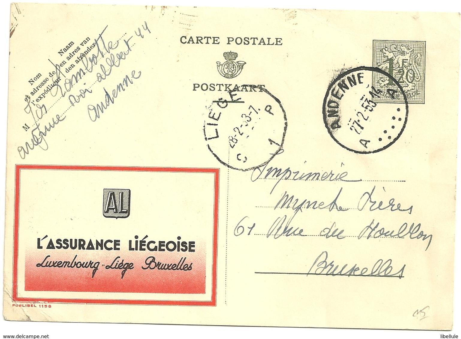 Entier Postal : Assurance Liégeoise - Enteros Postales