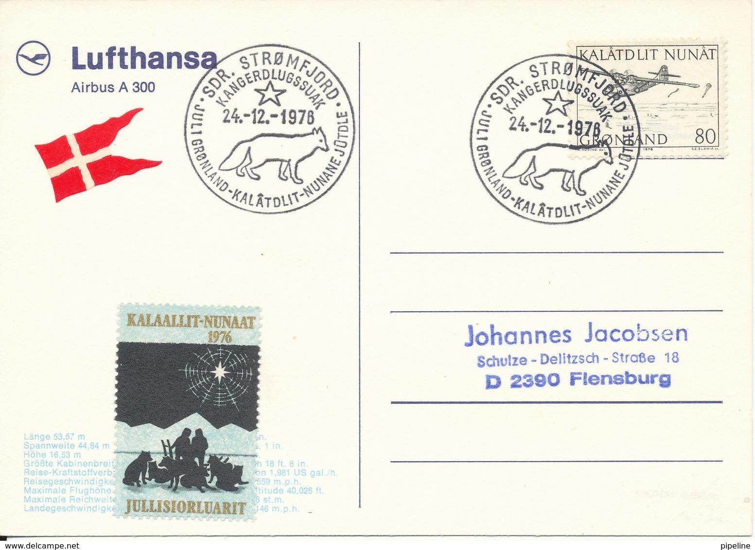 Greenland Postcard Sent To Germany Special Christmas Postmark Sdr. Strömfjord 24-12-1976 (Lufthansa A 300) - Greenland