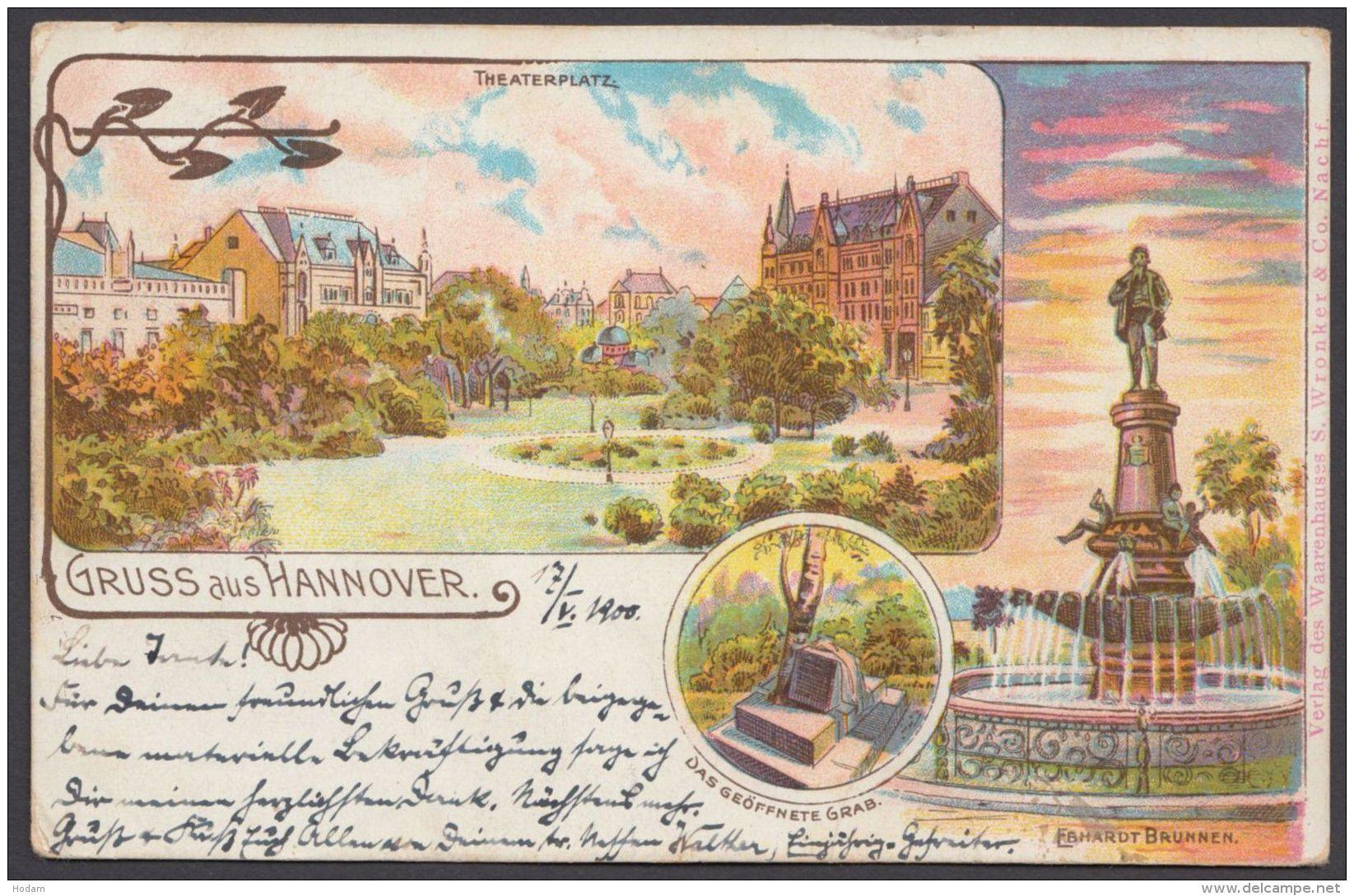 """Hannover"", Gruß Aus ..., Farbige Karte, 1900 Gelaufen - Hannover"