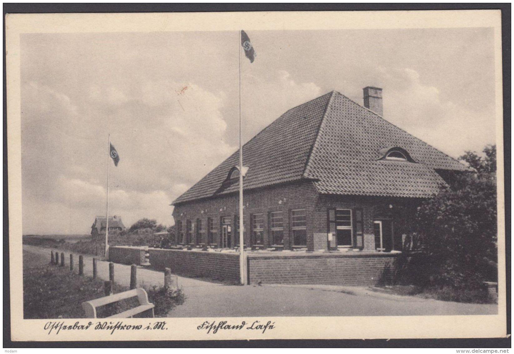 """""""ostseebad Wustow"""", Festland Cafe, Foto-AK Mit Hakenkreuz-Fahnen, 1951, Unbeanstandet Gelaufen, Bedarf - Deutschland"""