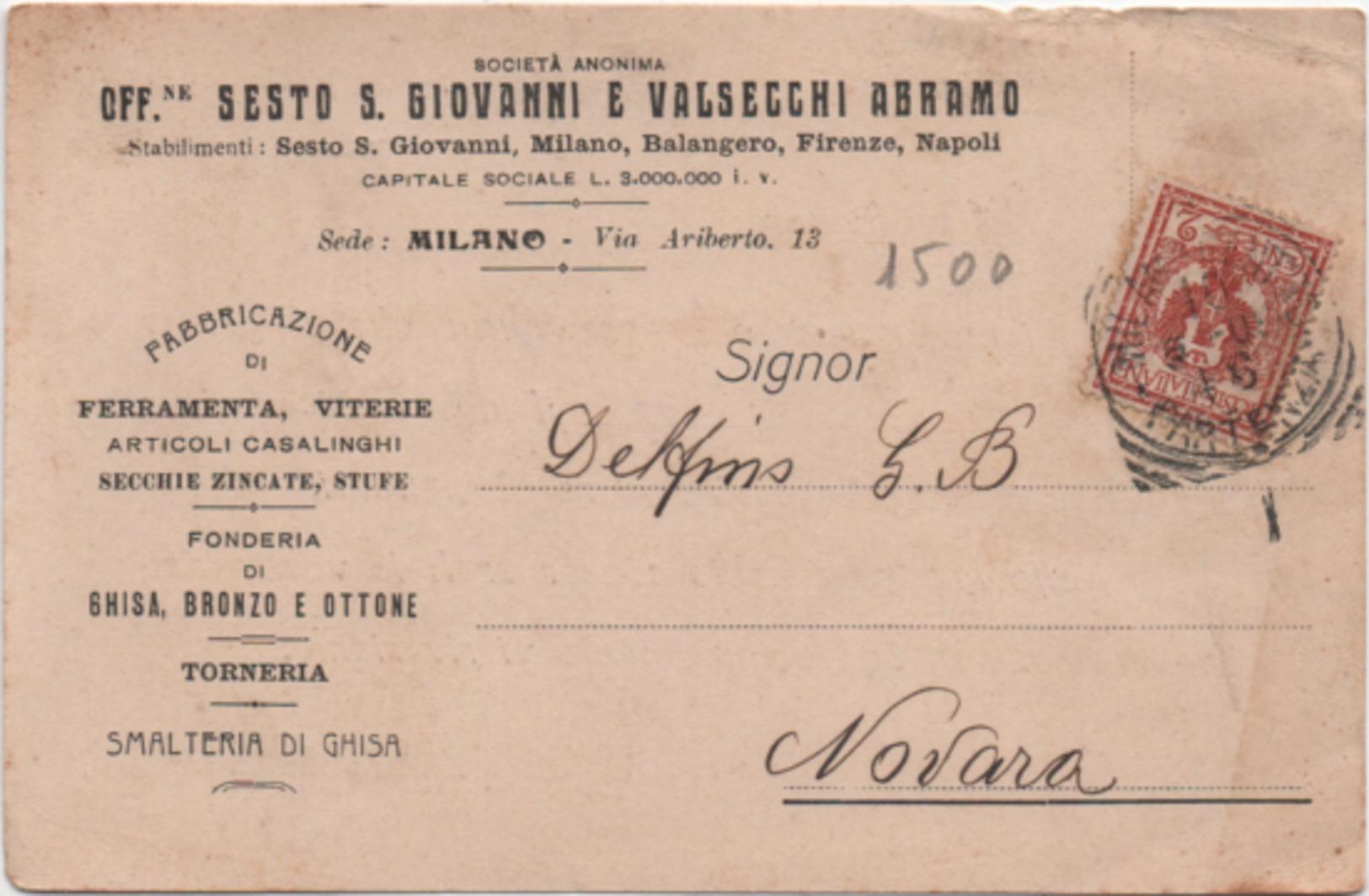 Milano: Officine Sesto San Giovanni E Valsecchi Abramo. Viaggiata 1916 Milano Firenze Napoli Balangero (Torino) - Milano (Milan)