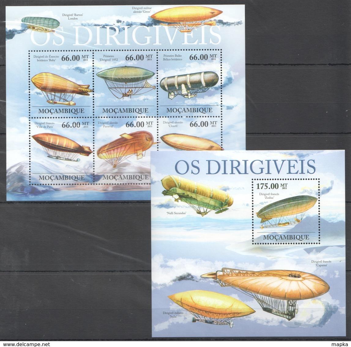 U601 2011 MOCAMBIQUE AVIATION OS DIRIGIVEIS 1SH+1BL MNH - Zeppelins