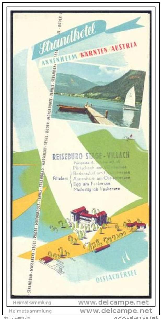 Ossiachersee - Strandhotel Annenheim - Faltblatt Mit 10 Abbildungen - Illustrationen Leischner - Oesterreich