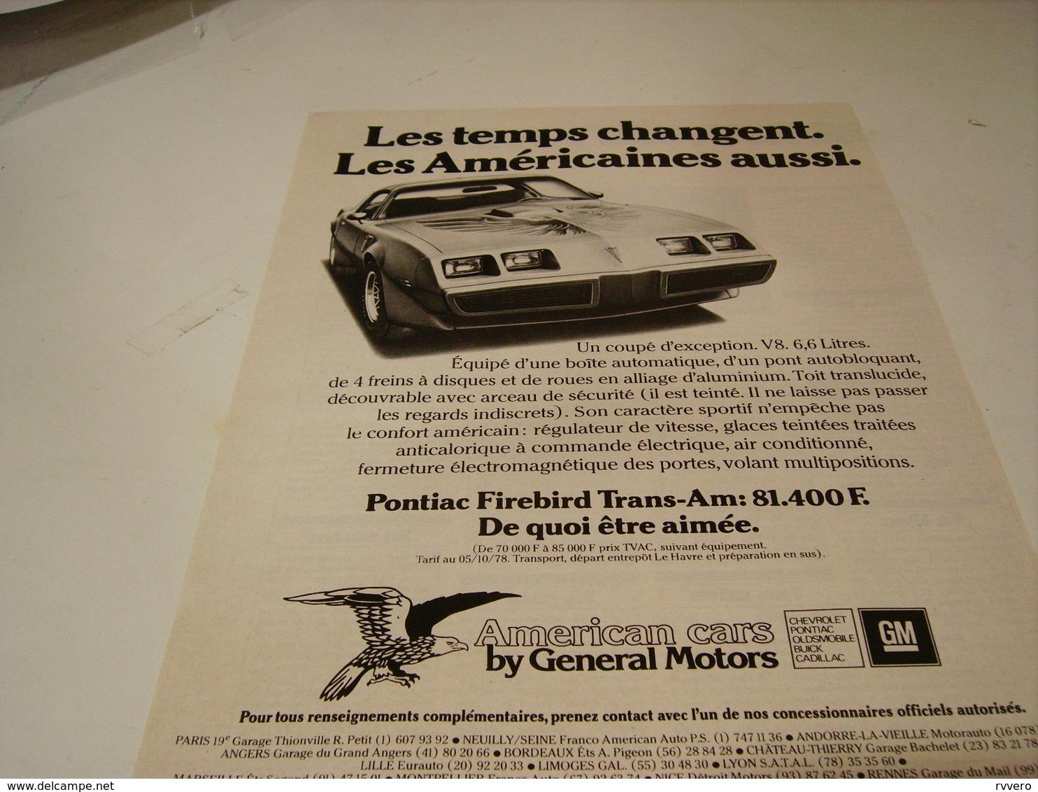 ANCIENNE PUBLICITE VOITURE AMERICAN CAR DE GENERAL MOTORS PONTIAC 1979 - Publicités