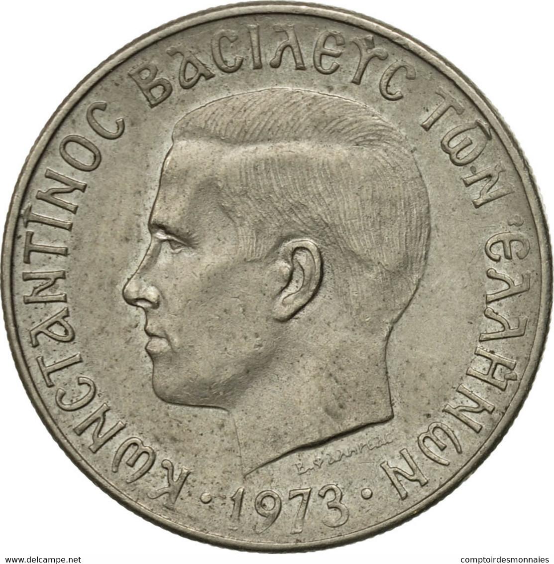Monnaie, Grèce, Constantine II, 2 Drachmai, 1973, TB+, Copper-nickel, KM:99 - Grèce