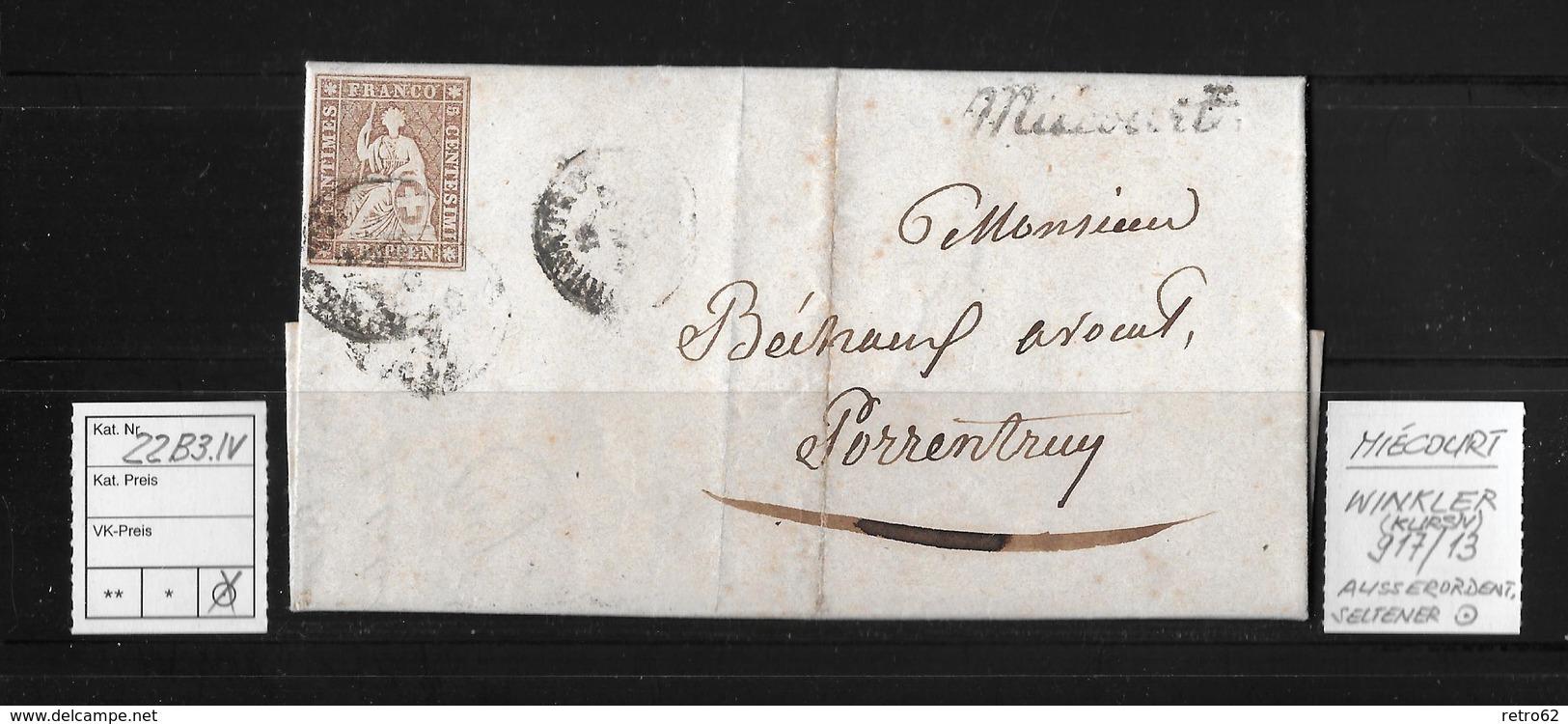 1857 Sitzende Helvetia, Ungezähnt (Strubel)  ►22B3.IV Miécourt Winkler 917/13 Nach Porrentruy◄ - Lettres & Documents