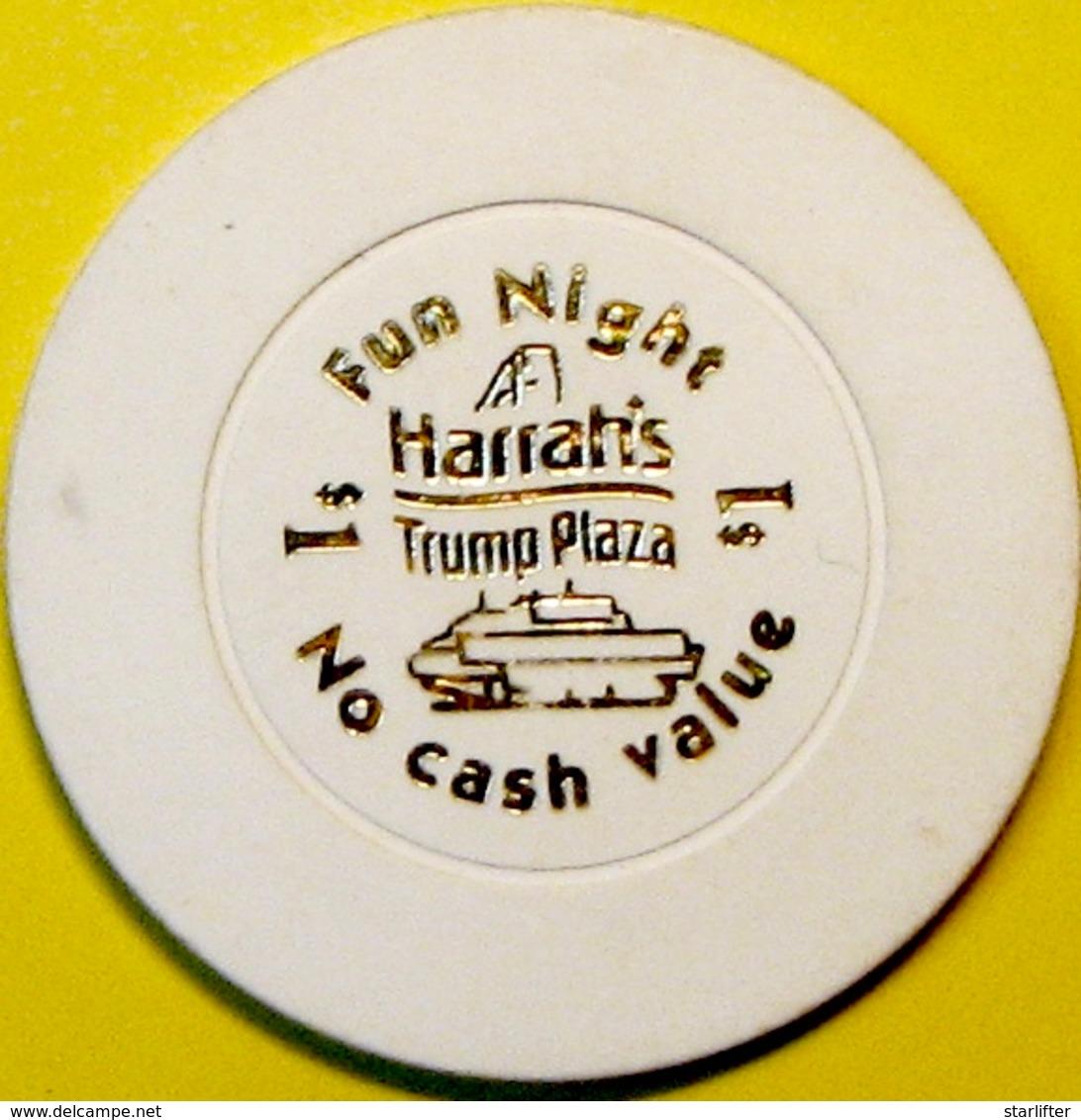 $1 Casino Chip. Harrahs Trump Plaza, Atlantic City, NJ. Fun Night. E78. - Casino