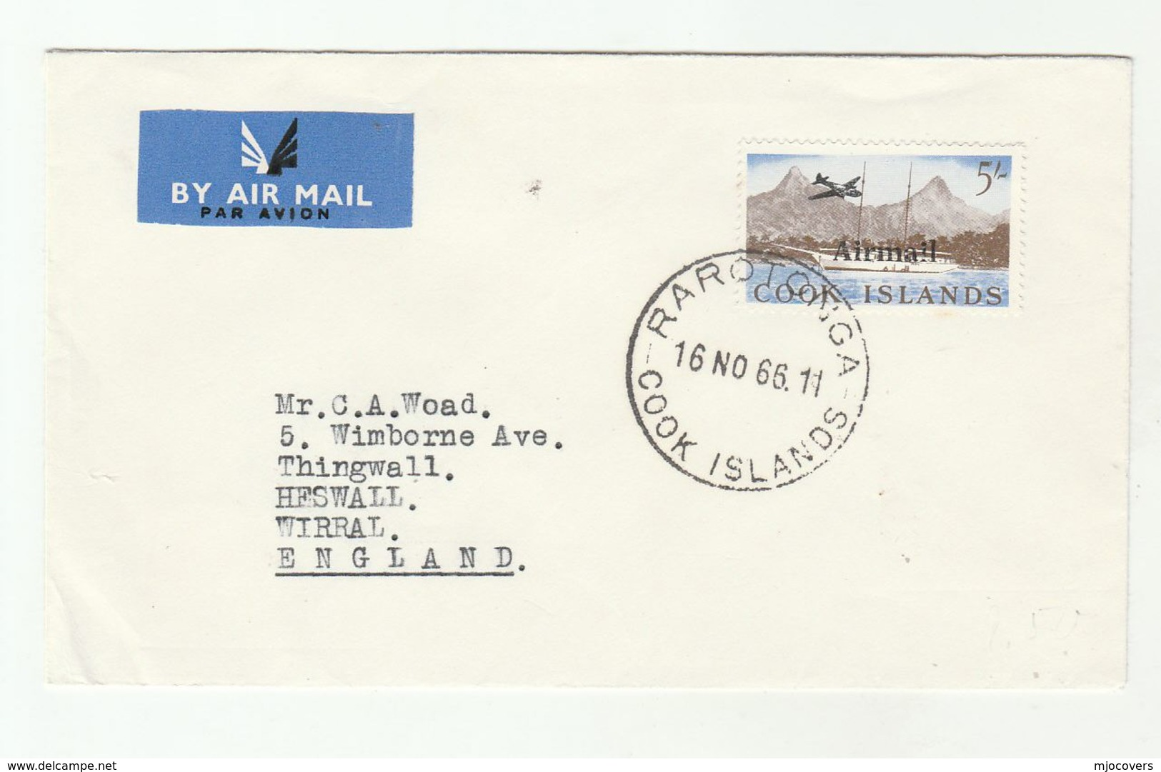 1966 Airmail COOK ISLANDS COVER To GB  5/- AIRMAIL Ovpt Stamp Aviation Ship - Cook